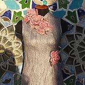 Одежда ручной работы. Ярмарка Мастеров - ручная работа Валяный жилет розовые розы. Handmade.