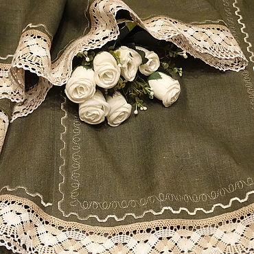 Для дома и интерьера ручной работы. Ярмарка Мастеров - ручная работа Скатерть льняная с кружевом Классика стиля Зеленый цвет Большой размер. Handmade.