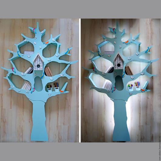 Детская ручной работы. Ярмарка Мастеров - ручная работа. Купить Бирюзовое дерево-стеллаж с подсветкой для детской комнаты. Handmade.