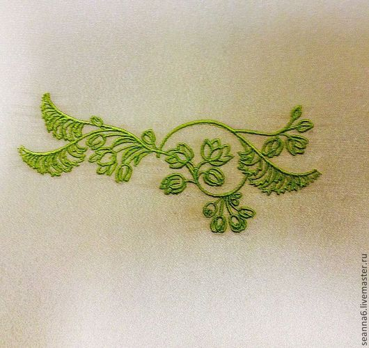 """Аппликации, вставки, отделка ручной работы. Ярмарка Мастеров - ручная работа. Купить Вышивка, вышитая картинка, картина, панно """"Оливковая шелковая ветвь"""". Handmade."""