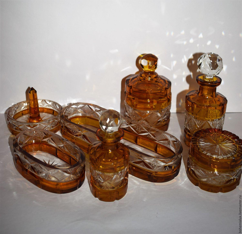 Винтаж: Туалетный набор цветное стекло   1920гг янтарное, медовое стекло, Винтажные предметы интерьера, Прага, Фото №1