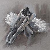 Картины и панно handmade. Livemaster - original item Ballerina Pastel (charcoal grey white graphics). Handmade.