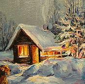 Картины и панно ручной работы. Ярмарка Мастеров - ручная работа Зимний домик. Handmade.