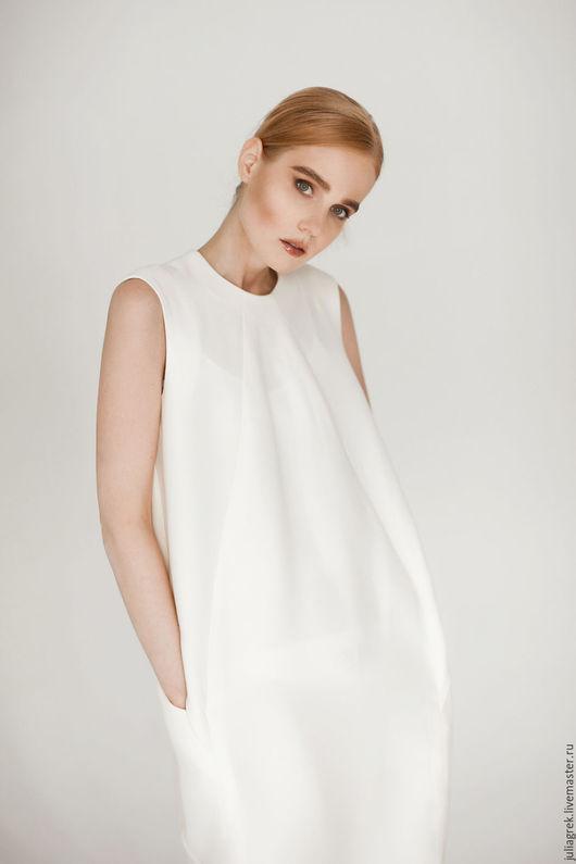 Платья ручной работы. Ярмарка Мастеров - ручная работа. Купить Платье в цвете Экрю. Handmade. Белый, оригинальное платье