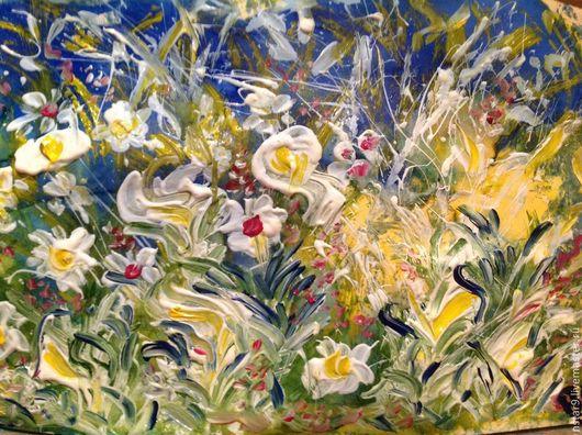 Пейзаж ручной работы. Ярмарка Мастеров - ручная работа. Купить Цветочное танго 2.. Handmade. Зеленый, подарок на 8 марта