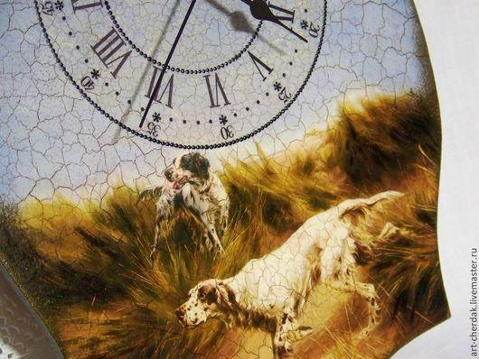 """Часы для дома ручной работы. Ярмарка Мастеров - ручная работа. Купить Часы настенные """"Охота на перепелок"""". Handmade. Голубой"""