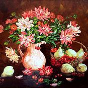 Картины и панно handmade. Livemaster - original item Oil painting Dahlias. Handmade.