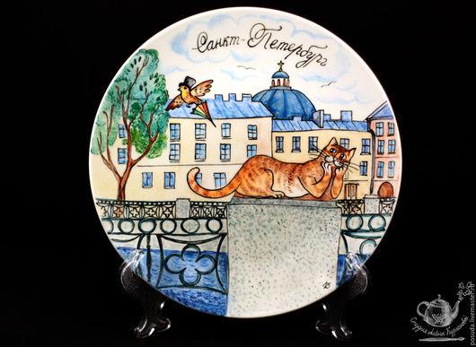 """Тарелки ручной работы. Ярмарка Мастеров - ручная работа. Купить тарелка """"Кот Интеллигент"""". Handmade. Комбинированный, тарелка на стену, кот"""