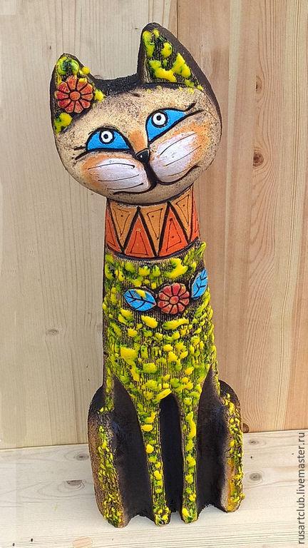 Статуэтки ручной работы. Ярмарка Мастеров - ручная работа. Купить Кошка Южная интерьерная. Handmade. Разноцветный, интерьер, Керамика