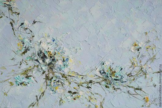 картина маслом на холсте с подрамником с голубыми васильковыми белыми цветами домашний декор украшение стен нужна картина на заказ