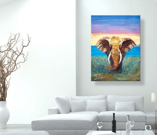 """Животные ручной работы. Ярмарка Мастеров - ручная работа. Купить Картина масло холст """"Небесный Слон"""" картина маслом. Handmade."""