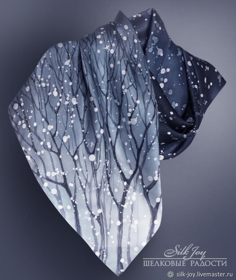 Платок батик. Платок шелковый. Батик платок. Зимняя ночь. Серый, Платки, Ростов-на-Дону,  Фото №1