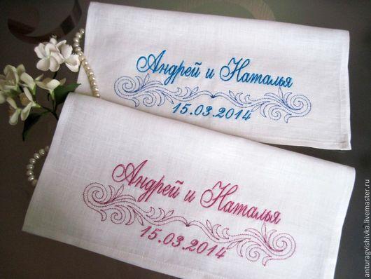 Платочки с вышивкой СИТЦЕВАЯ СВАДЬБА   - прекрасный подарок на юбилей свадьбы..