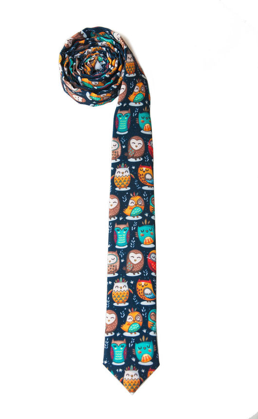 Яркий аксессуар! Темно-синий галстук с совами! Придай своему образу оригинальности и выразительности!