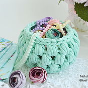 Для дома и интерьера handmade. Livemaster - original item Knitted basket Marshmallow mint. Handmade.