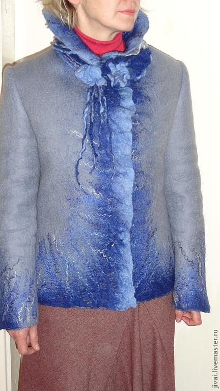 Пиджаки, жакеты ручной работы. Ярмарка Мастеров - ручная работа. Купить жакет Весенне вдохновение. Handmade. Синий, шерсть меринос