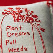 Для дома и интерьера ручной работы. Ярмарка Мастеров - ручная работа Интерьерная подушка с вышивкой Лейка с цветами. Handmade.
