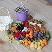 Кукольная еда ручной работы. Ярмарка Мастеров - ручная работа Набор овощей и фруктов 35 фигур. Handmade.