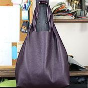 Сумки и аксессуары handmade. Livemaster - original item Purple Bag Bag medium leather Bag string Bag shopper t shirt. Handmade.