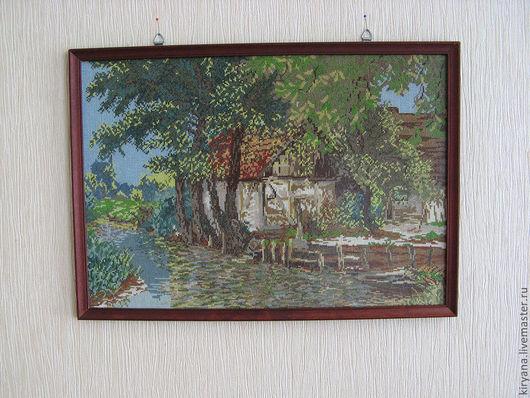 Пейзаж ручной работы. Ярмарка Мастеров - ручная работа. Купить Вышитая картина Старая мельница. Handmade. Вышивка крестом