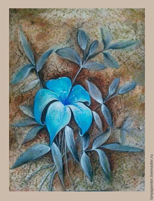 Картины цветов ручной работы. Ярмарка Мастеров - ручная работа. Купить Голубая лилия. Смешанная техника. Handmade. Картина