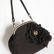 Сумки и аксессуары handmade. Livemaster - original item Bag with clasp women`s brown genuine suede with a flower. Handmade.