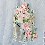 Цветы и флористика ручной работы. Ярмарка Мастеров - ручная работа Декоративная клетка с цветами, клетка с розами, клетка в розах. Handmade.