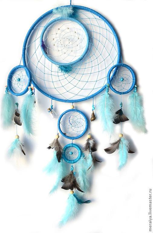 """Ловцы снов ручной работы. Ярмарка Мастеров - ручная работа. Купить Ловец снов """"Голубой водопад"""". Handmade. Голубой, перья"""