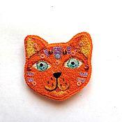Украшения ручной работы. Ярмарка Мастеров - ручная работа Вышитая брошь - Рыжий котик. Handmade.