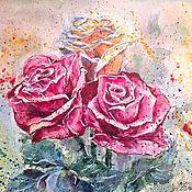 Картины и панно ручной работы. Ярмарка Мастеров - ручная работа Бунт Царицы цветов :-) Картина акварелью. Handmade.