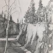 Картины и панно handmade. Livemaster - original item Karelian rocks Ruskeala, paper, pencil. Handmade.