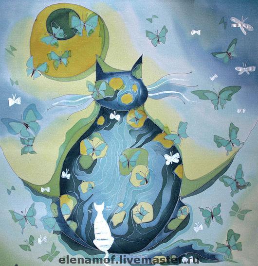 Животные ручной работы. Ярмарка Мастеров - ручная работа. Купить Панно Кот и бабочки. Handmade. Панно на шёлке, картина на шелке
