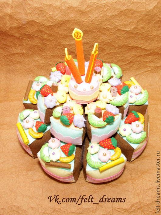 Еда ручной работы. Ярмарка Мастеров - ручная работа. Купить Торт из фетра. Handmade. Торт, сладости из фетра, комбинированный, мулине