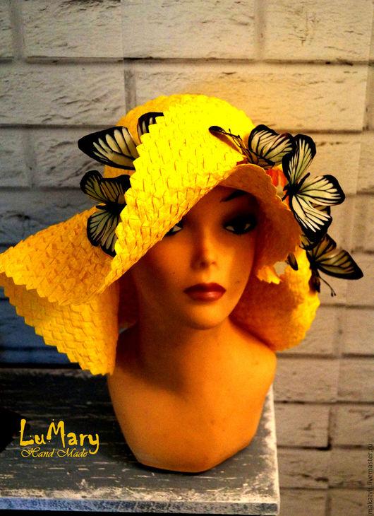 Шляпы ручной работы. Ярмарка Мастеров - ручная работа. Купить Шляпка плетенная с бабочками. Handmade. Желтый, бабочки
