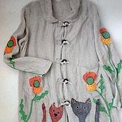 """Одежда ручной работы. Ярмарка Мастеров - ручная работа Плащ изо льна """" Коты и цветы-3"""". Handmade."""