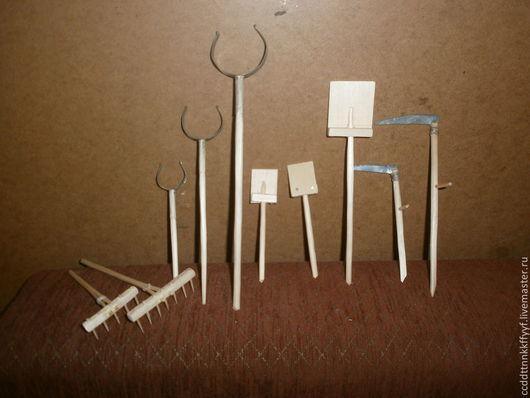 Миниатюра ручной работы. Ярмарка Мастеров - ручная работа. Купить грабли, ухваты ,косы, лопаты маленькие. Handmade. Грабли