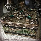 """Для дома и интерьера ручной работы. Ярмарка Мастеров - ручная работа Шкатулочка """"Emerald"""". шкатулка декупаж изумруд. Handmade."""