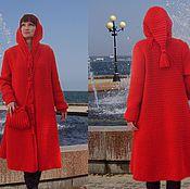 Одежда ручной работы. Ярмарка Мастеров - ручная работа Вязаное крючком пальто «Алый сок заката». Handmade.