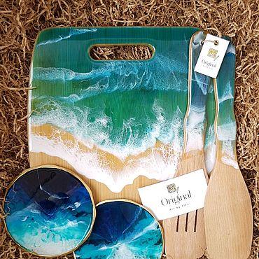 Для дома и интерьера ручной работы. Ярмарка Мастеров - ручная работа Подарочный набор с доской, поставками и лопатками из смолы. Handmade.