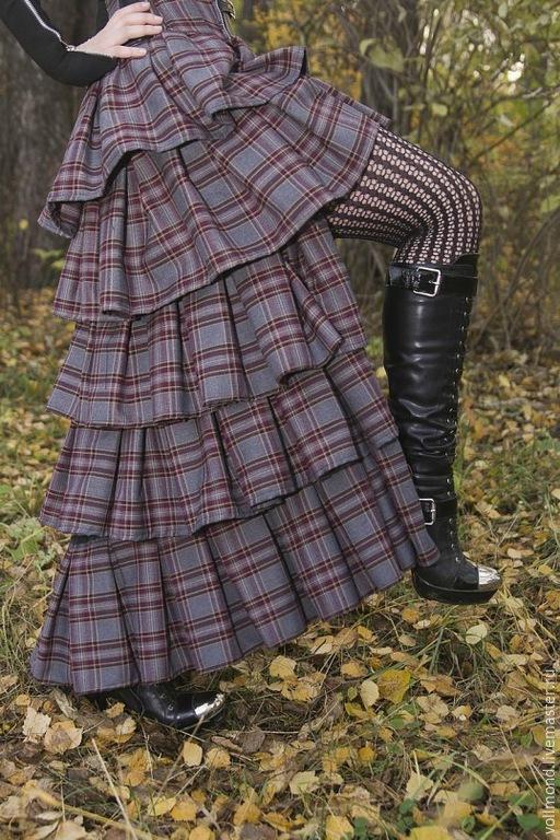 Юбки ручной работы. Ярмарка Мастеров - ручная работа. Купить Авторская юбка с перепадом длины. Handmade. В клеточку