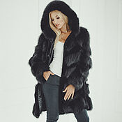 Одежда handmade. Livemaster - original item Fox fur coat with hood in black. Handmade.