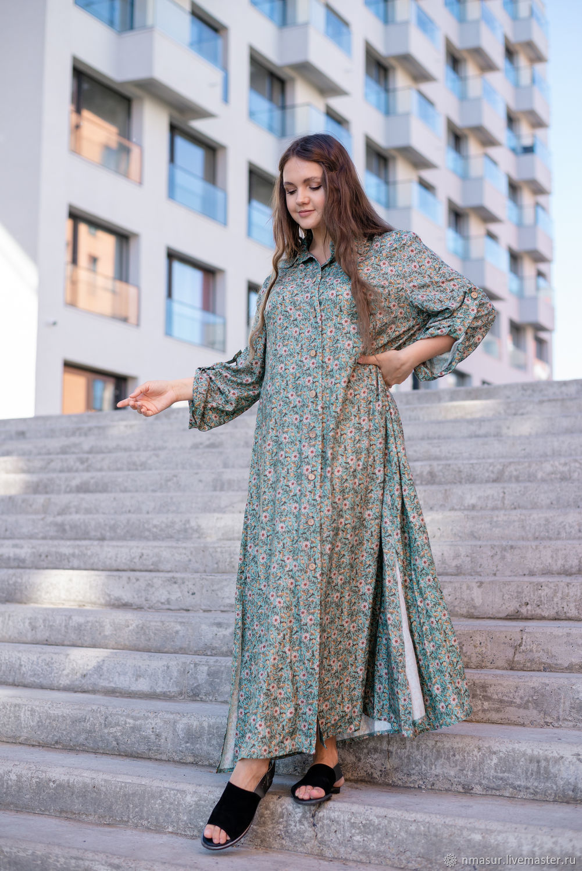 Floor-length shirt dress 'Mint Daisies', Dresses, Novosibirsk,  Фото №1