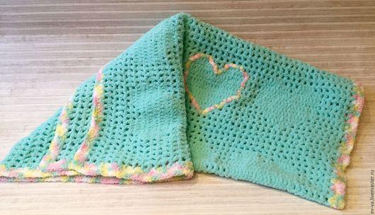 Пледы и одеяла ручной работы. Ярмарка Мастеров - ручная работа. Купить Плед-покрывало Мятные сердца. Handmade. Комбинированный