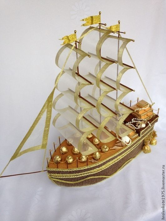 """Букеты ручной работы. Ярмарка Мастеров - ручная работа. Купить Корабль с  конфетами """"Корабль богатств"""". Handmade. Коричневый, подарок на юбилей"""