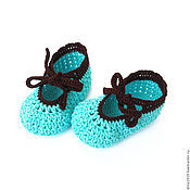 Работы для детей, handmade. Livemaster - original item knitted booties, booties, booties for girls, turquoise. Handmade.