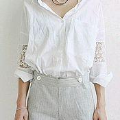 Блуза из итальян. хлопка с кружевными вставками на рукавах (артБ0517)