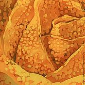 Картины и панно ручной работы. Ярмарка Мастеров - ручная работа Батик картина панно Шафрановая Роза. Картина на шелке. Оранжевый. Handmade.