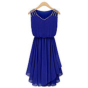 Одежда ручной работы. Ярмарка Мастеров - ручная работа Ярко-синее платье из шифона. Handmade.