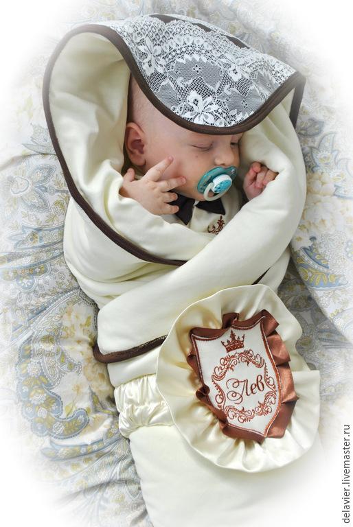 """Для новорожденных, ручной работы. Ярмарка Мастеров - ручная работа. Купить Фамильный плед/одеяло на выписку  """"Шоколадные фантазии"""". Handmade. Кремовый"""
