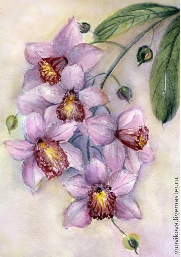 """Открытки для женщин, ручной работы. Ярмарка Мастеров - ручная работа. Купить открытка """"Розовая орхидея"""". Handmade. Акварель, орхидея, посткроссинг"""